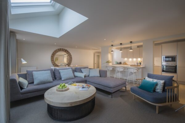 A view of the living area at The Salterns apartments, Chichester Marina