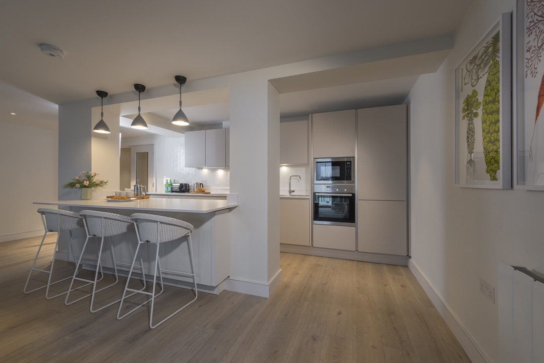 A view of the kitchen area at The Salterns apartments, Chichester Marina