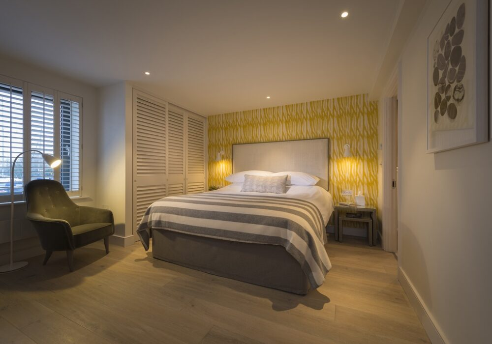 A view of a bedroom at The Salterns apartments, Chichester Marina