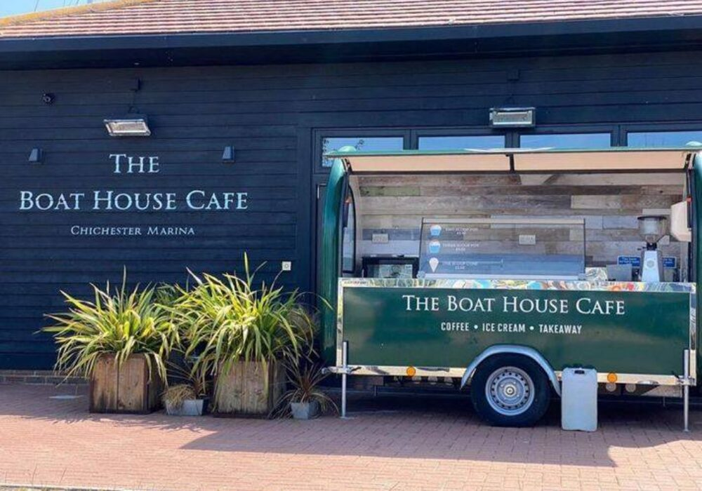 An exterior photo of The Boat House Cafe, Chichester Marina