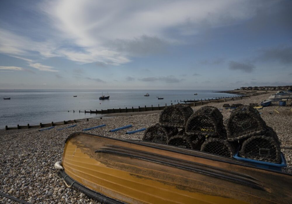 An image of fishing boats and nets on Selsey beach