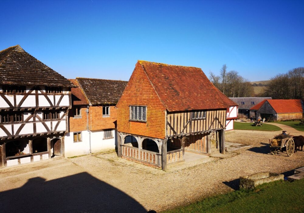 An image showing the historic market square at Weald & Downland Living Museum