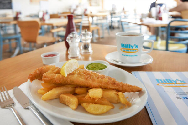 Fish and chips at Billy's on the Beach