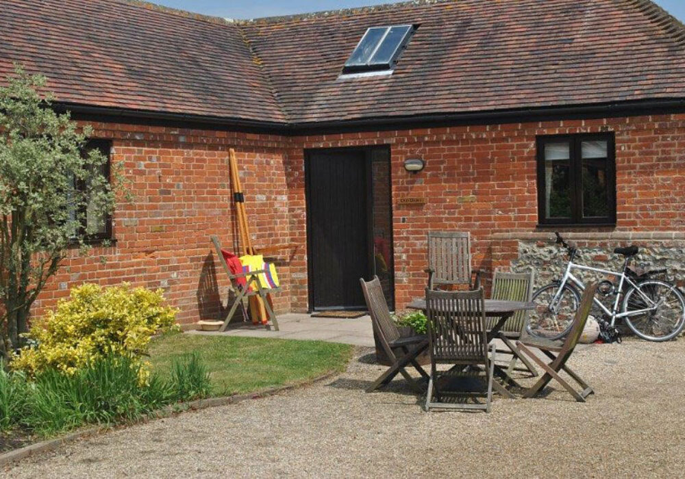 Outside patio space at Canute Cottages