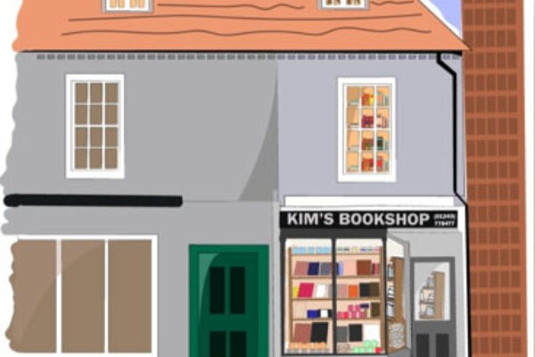 Kim's Bookshop Chichester shop exterior illustration