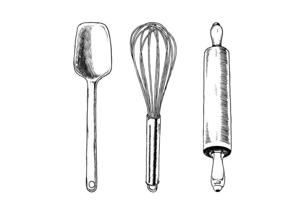 Two Sisters Cake shop logo showing a spatula, whisk and rolling pin