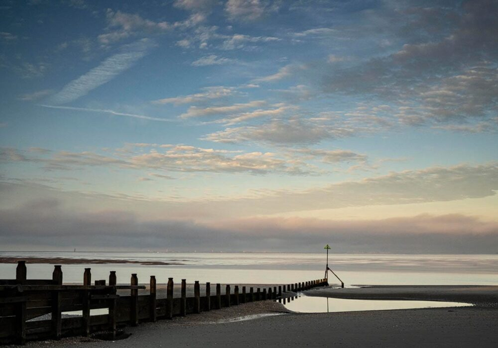 An image of West Wittering beach at sunset