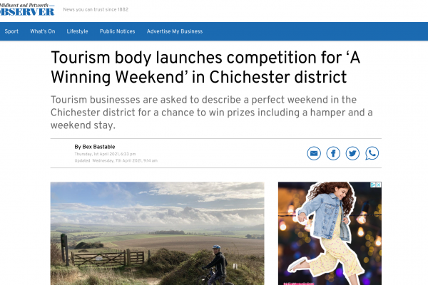 An image showing a screenshot of the Midhurst & Petworth Observer featuring The Great Sussex Way