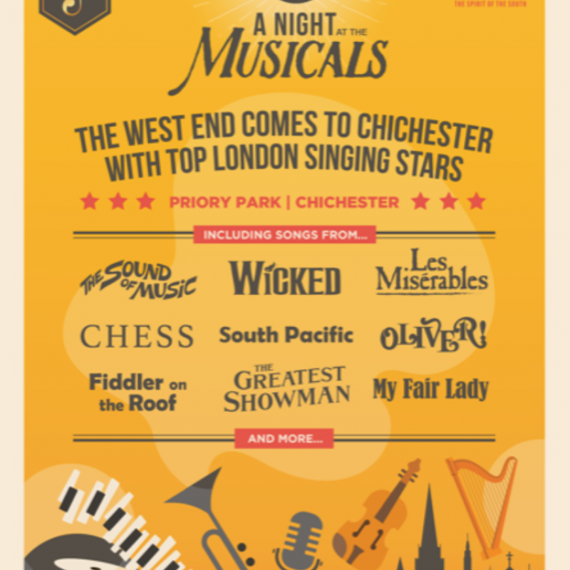 An image showing an advertisement for A Night at the Musicals in Chichester