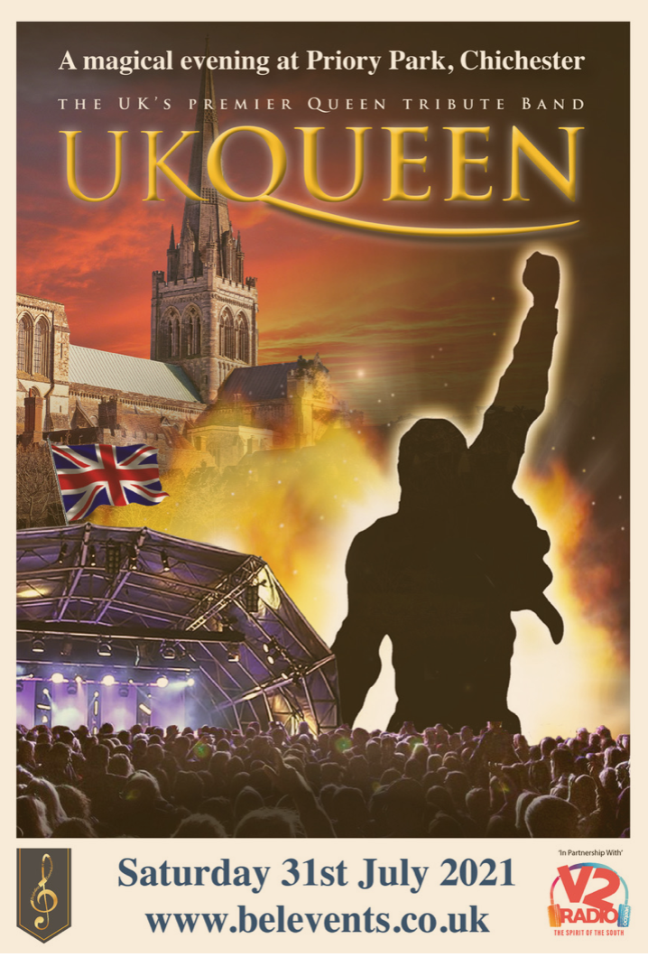 A poster showing UK Queen