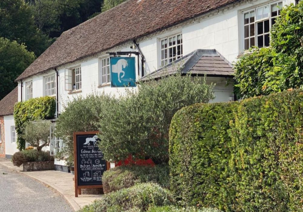 An image showing the exterior of The White Horse, Chilgrove