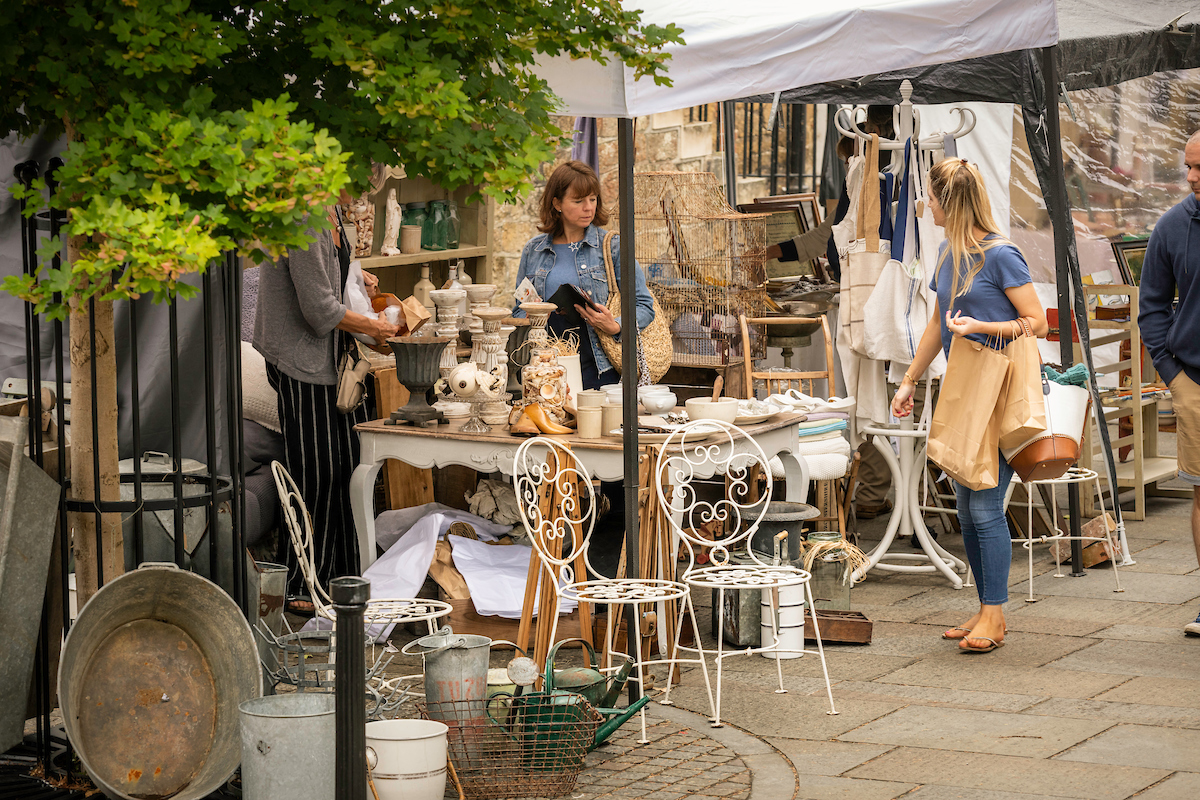An image of shoppers at a Country Brocante Fair in the Square